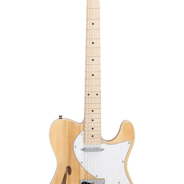 [Do Not Sell on Amazon]Glarry GTL Semi-Hollow Electric Guitar F Hole SS Pickups Maple Fingerboard White Pearl Pickguard Log Color