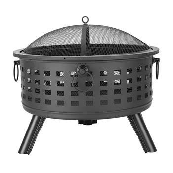 "26"" Round Lattice Fire Bowl Black"