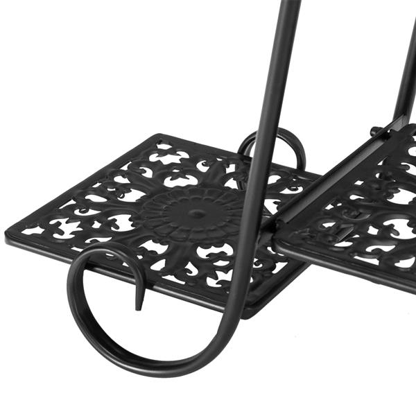Artisasset One Lacquered 31-inch High Arched 4-Layer 6-Seat Potted Plant Stand with Patterned Layout Black (YH-HJ024)