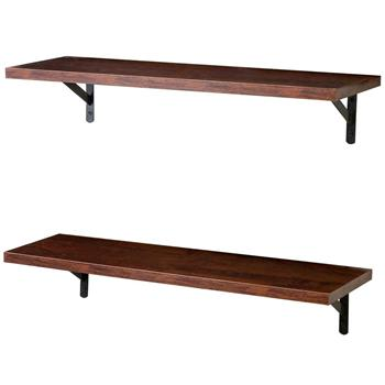 2 Display Ledge Shelf Floating Shelves Wall Mounted  with Bracket for Pictures and Frames Modern Home Decorative Brown