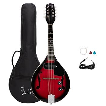 [Do Not Sell on Amazon]Glarry A Style 8-String Acoustic Electric Mandolin Double-Duty Mandolin with Gig Bag for Beginner Sunset Red