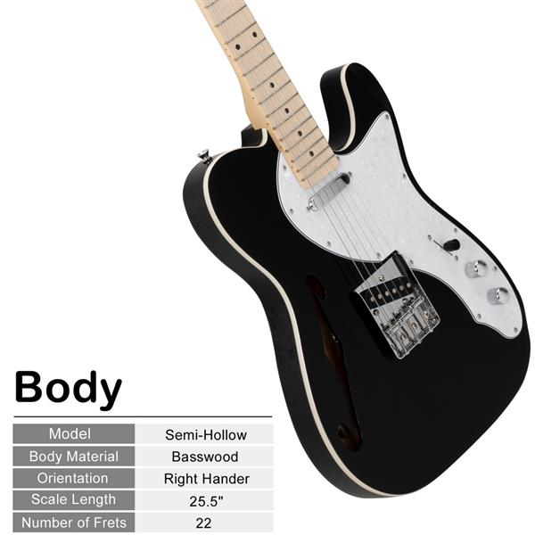 [Do Not Sell on Amazon]Glarry GTL Semi-Hollow Electric Guitar F Hole SS Pickups Maple Fingerboard White Pearl Pickguard Black