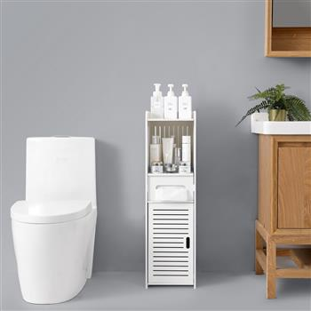 PVC Furniture Single Door Three-layer Bathroom Cabinet 【25*25*90cm】