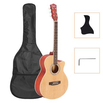 [Do Not Sell on Amazon]Glarry GT501 40 inch Spruce Front Cutaway Folk Guitar with Bag & Board & Wrench Tool Burlywood