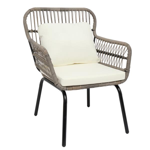3-Piece Patio Wicker Conversation Bistro Set with 2 Chairs & Glass Top Side Table & Cushions Tan