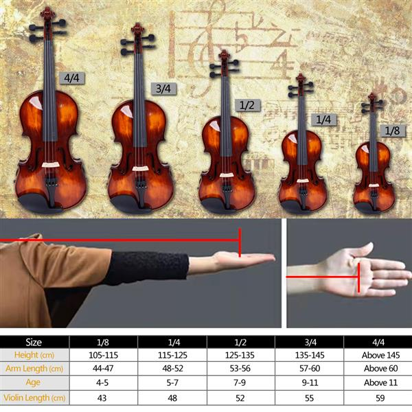 [Do Not Sell on Amazon]Glarry GV201 4/4 Classic Solid Wood Violin Case Bow Violin Strings Rosin Shoulder Rest Electronic Tuner