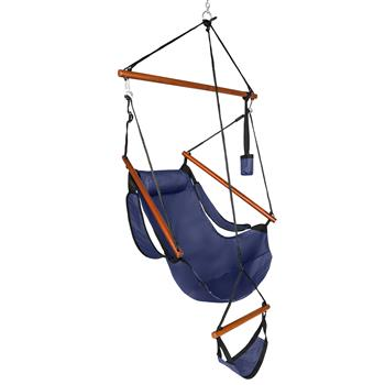 Oxford Cloth Hardwood With Cup Holder Wooden Stick Perforated 100kg Seaside Courtyard Oxford Cloth Hanging Chair   Blue