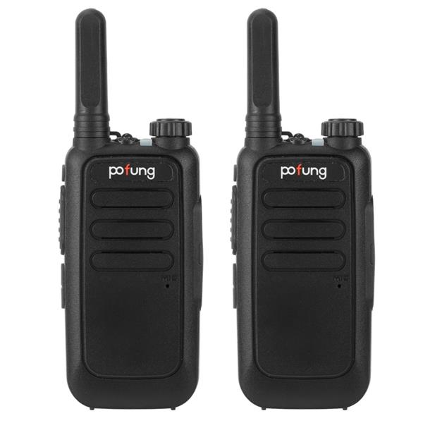 2 pcs  Pofung T15 FRS Digital Tube, Flashlight, 16 Channels, Dual Knobs (Fixed Antenna), Aluminum Alate Shielding 2W/0.5W Integrated Walkie-talkie 1500mAh Battery