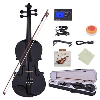 [Do Not Sell on Amazon]Glarry GV102 4/4 Solid Wood EQ Violin Case Bow Violin Strings Shoulder Rest Electronic Tuner Connecting Wire Cloth Black