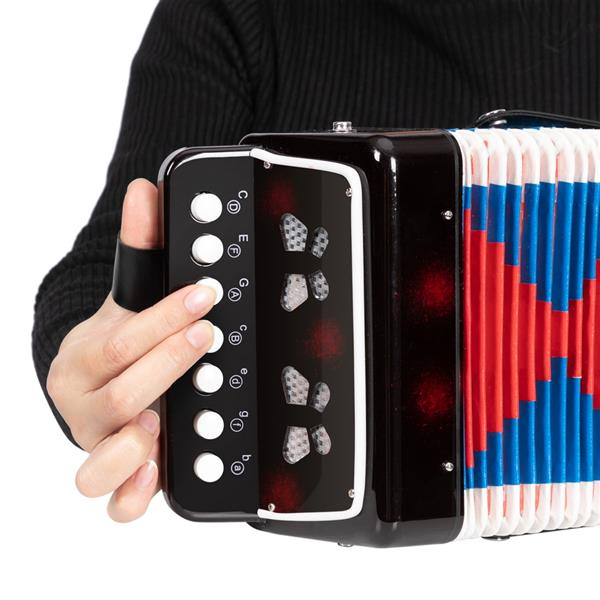 7-Key 2 Bass Kids Accordion Children's Mini Musical Instrument Easy to Learn Music Black