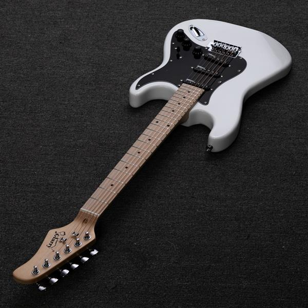 【Do Not Sell on Amazon】Glarry GST Ⅱ Upgrade Electric Guitar with Wilkinson Pickup , Daddario String, Canadian Maple Fingerboards, Bone Nut White
