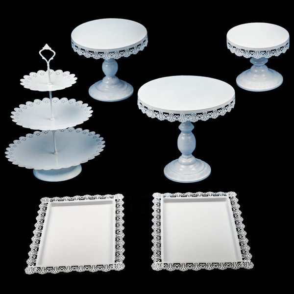 蛋糕架 1Set Cake Stand Set Round Cupcake Holder Wedding Dessert Fruit Display Plate