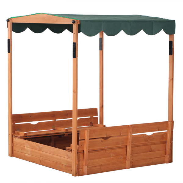 Wooden Sandbox with Convertible Cover Kids Outdoor Backyard Bench Play Sand Box