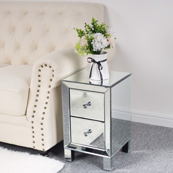 FCH Mirror Two Drawer Bedside Table Silver