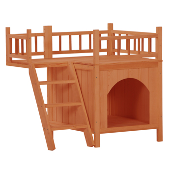Pet Wooden Cat House Living House Kennel with Balcony Orange Red