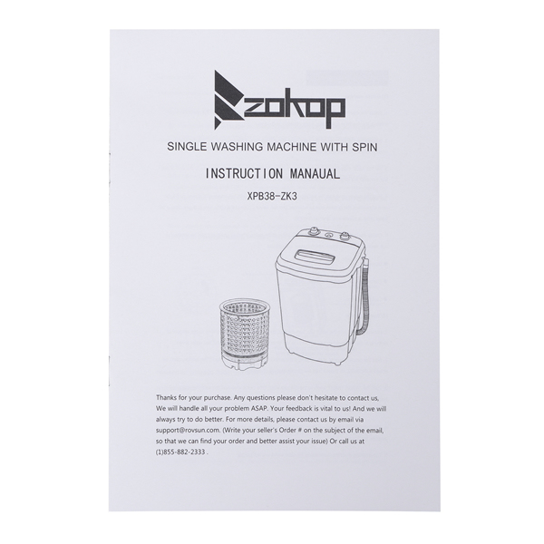 ZOKOP XPB38-ZK3 10lb Elution Integrated Semi-automatic Gray Cover Washing Machine