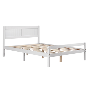 Vertical Board Bed Head Horizontal Bar Bed End Solid Wood Bed White 4FT