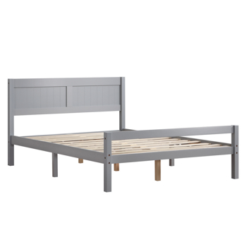 Vertical Board Bed Head Horizontal Bar Bed End Solid Wood Bed Grey 4FT