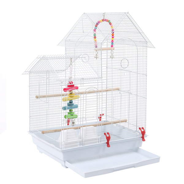 """30"""" Bird Cage Pet Supplies Metal Cage with two Additional Toys White"""