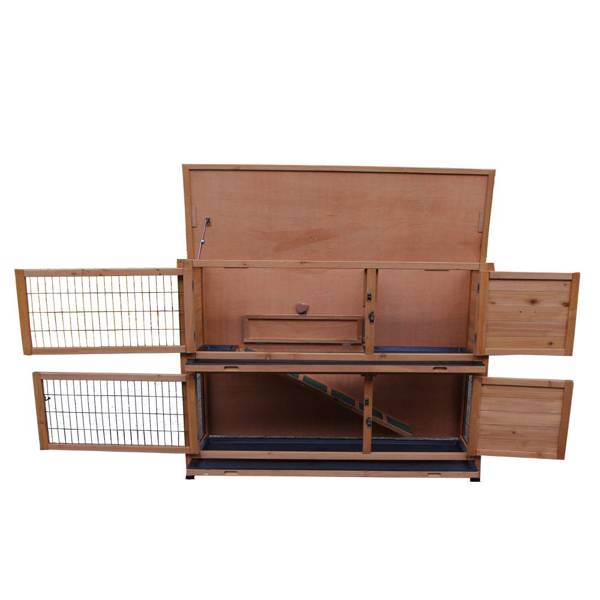 """48"""" 2 Tiers Waterproof Coop Rabbit Hutch Wood House Pet Cage for Small Animals"""