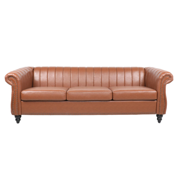Rolled Arm Faux leather Chesterfield Sofa