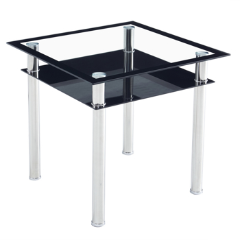 Double-layer Square Tempered Glass Stainless Steel Cylindrical Leg 80*80*75cm Dining Table
