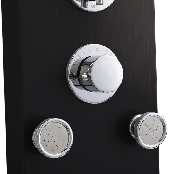 57.6 inch Shower Panel Tower System Stainless Steel 6 in 1 Multi-Function Shower Panel Black