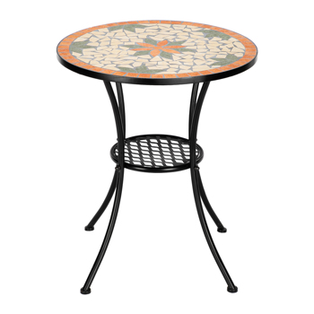Artisasset Ceramic Inlaid Maple Leaf Shape Mosaic Table And Chair Set - 28 Inch High Round Table(only table)