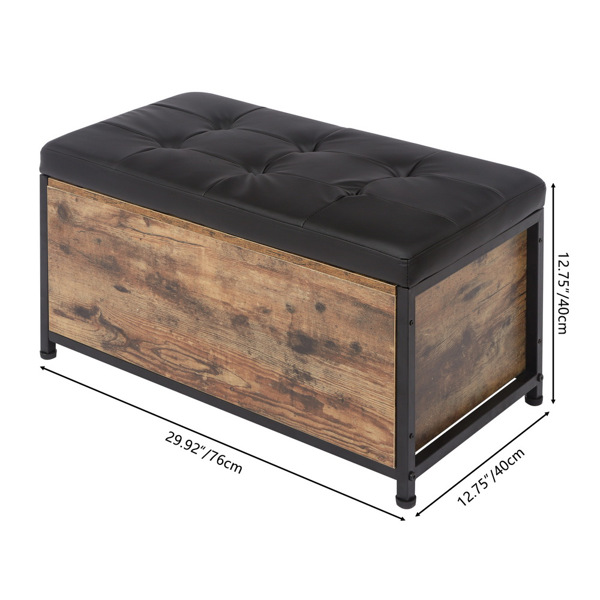 """29.92"""" Sturdy Entryway Storage Bench, Bed End Stool,Vintage Color"""