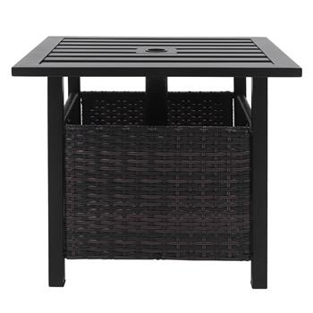 Wrought Iron With Umbrella Hole Brown Gradient Rattan Black Panel Rattan Side Table