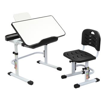 70CM Lifting Table Top Can Tilt Children Learning Table And Chair Black With Reading Stand Without Table Lamp)