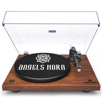 ANGELSHORN Record Player Vintage 2-Speed Stereo Turntable with Built-in Phono Preamp and Belt Drive for Vinyl Records, Walnut Wood