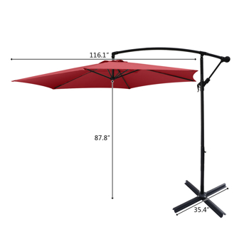 10FT Banana Umbrella Waterproof Folding Sunshade Wine Red( Resin Baseis not included, and 94617980codes is required for the resin base)