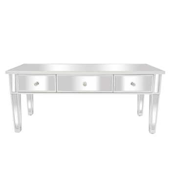 FCH Mirror Three Drawer Coffee Table Wooden Table Silver Straight Legs