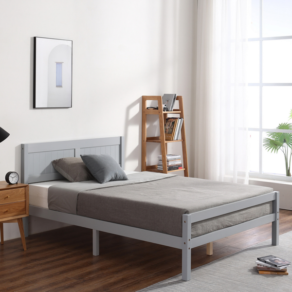 Vertical Board Bed Head Horizontal Bar Bed End Solid Wood Bed Grey 4FT6