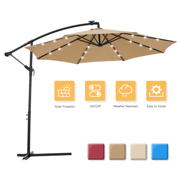 10 FT Solar LED Patio Outdoor Umbrella Hanging Cantilever Umbrella Offset Umbrella Easy Open Adustment with 24 LED Lights -taupe