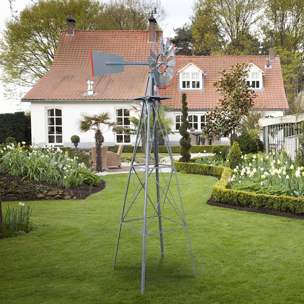 8FT Weather Resistant Yard Garden Windmill Gray & Red