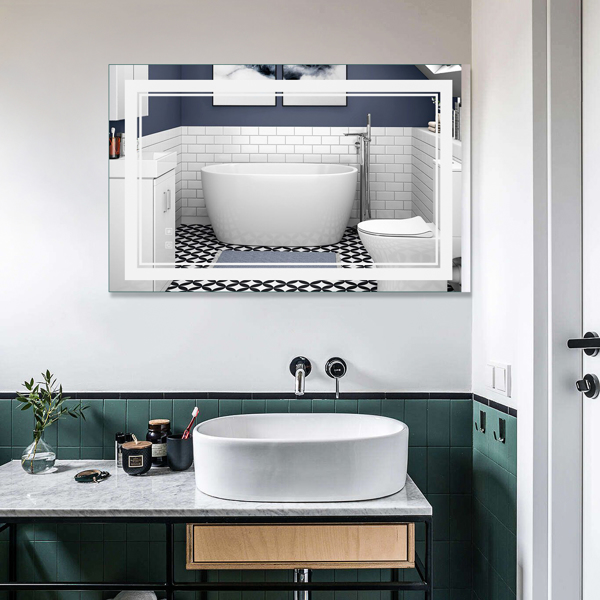 Smart LED Bathroom Mirror Two-Key Mode, Environmentally Friendly High-Definition Silver Mirror, Dimmable And Anti-Fog LED Light, The Mirror Is Wide And Narrow With Two Light-Emitting Frames