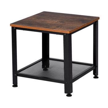 Industrial End Table, 2-Tier Side Table with Storage Shelf with Metal Frame