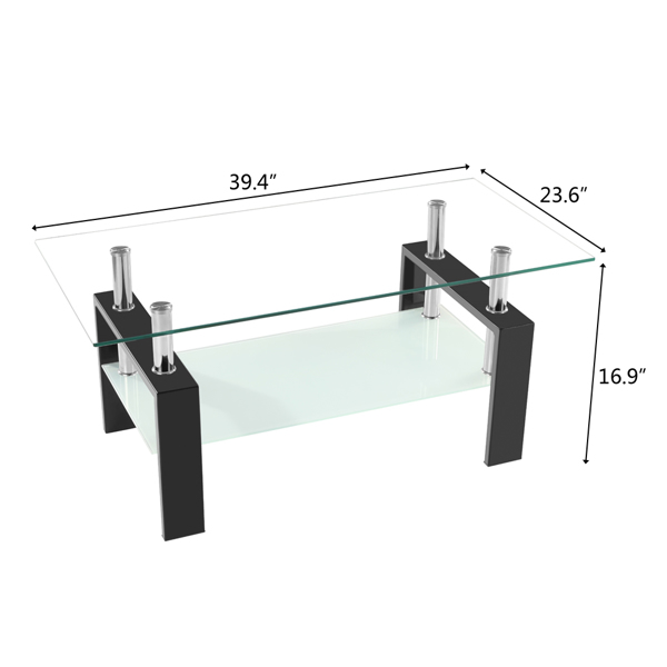 Arc Shaped Two Tiers Tempered Glass Coffee Table