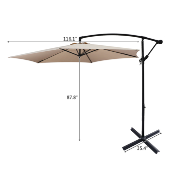 10FT Banana Umbrella Waterproof Folding Sunshade Top Color(Resin Baseis not included, and 94617980 is required for the resin base)