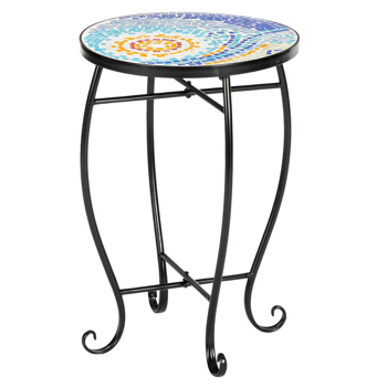Artisasset Blue Hawaiian Inlaid Color Glass Sun Mosaic Round Terrace Bistro Table