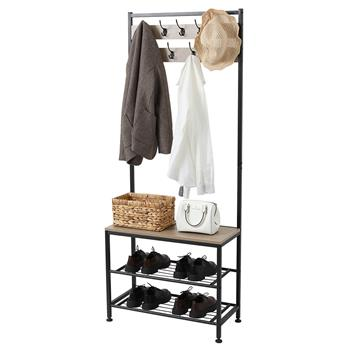 Industrial Coat Rack, Hall Tree Entryway Shoe Bench, Storage Shelf Organizer, Accent Furniture with Metal Frame  Gray Color