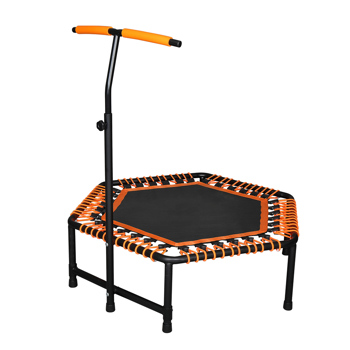42 x 50 inch Hexagon Trampoline with Adjustable Handle Bar for Adult / Kid Fitness Trampoline Bungee Rebounder Jumping Cardio Trainer Workout
