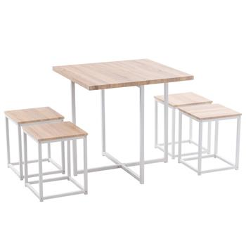 5 Piece Dining Table Set, Dining Set for 4, PVC Table and 4 Stools, Light Oak Color & White