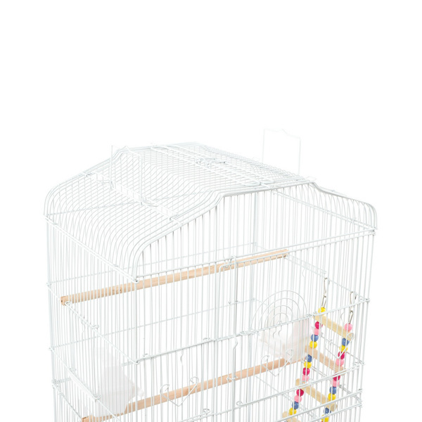 """37"""" Bird Cage Pet Supplies Metal Cage with Open Play Top with tow Additional Toys White"""