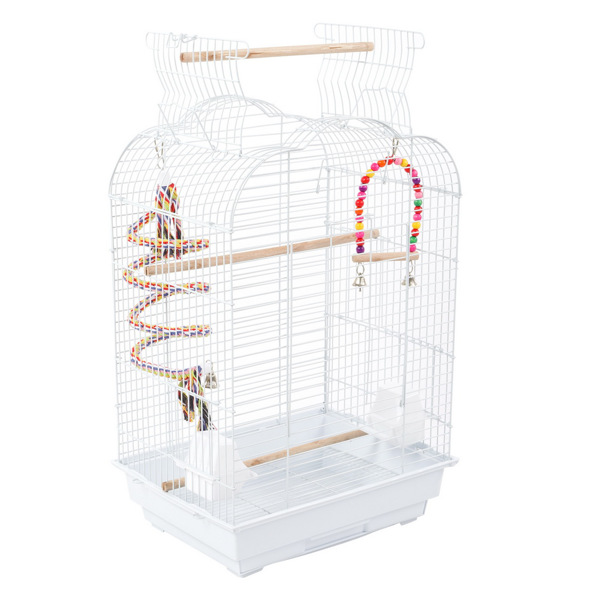 """27"""" Bird Cage Pet Supplies Metal Cage with Open Play Top with tow Additional Toys White"""