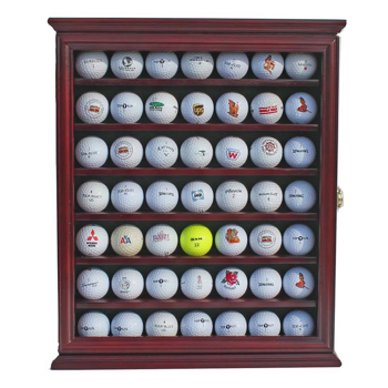 49 Golf Ball Display Case Cabinet Wall Rack Holder w/98% UV Protection Lockable Brown