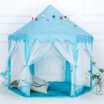 1.4m Diameter 210T Pongee Princess Castle Play House Large Outdoor Kids Play Tent for Girls Blue