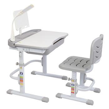 70CM Lifting Table Top Can Tilt Children Learning Table And Chair Grey (With Reading Stand   USB Interface Desk Lamp)